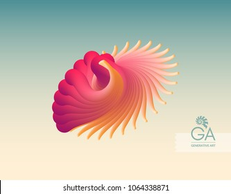 Flying abstract form. Vector art illustration. Dynamic effect. Cover design template. Can be used for advertising, marketing, presentation.