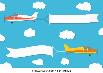 Flying advertising banner. Planes with horizontal banners on blue sky background. Vector