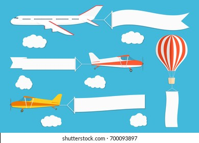 Flying advertising banner. Planes and hot air balloon with horizontal and vertical banners on blue sky background. Vector