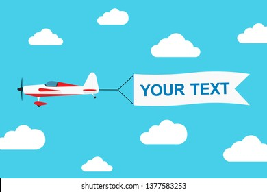 Flying advertising banner pulled by light aircraft in flat style vector illustration. EPS 10