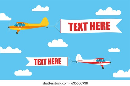 """Flying advertising banners, pulled by a light aircraft with your inscription """"TEXT HERE"""" - stock vector."""