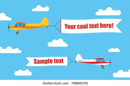 Flying advertising banners, pulled by a light aircraft with your text - stock vector.