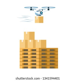 Flying Air Drone Delivering Cardboard Package. Delivery Carton Box Load on Wooden Pallet. Fast Modern Warehouse Transportation Technology. Future Device. Flat Cartoon Vector Illustration