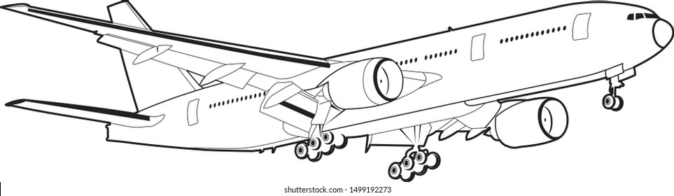 Flying aircraft vector. Black and white isolated vector. Big Commercial airplanes. Boeing 777