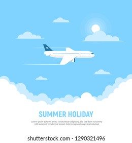 Flying airplane and clouds on blue sky background. Concept travel and holidays. Vector illustration in flat style.
