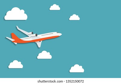 Flying airplane express delivery shipping  concept. Vector Illustration EPS10