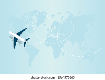 Flying airplane express delivery shipping concept. Vector Illustration