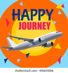 Flying Airplane with Happy Journey Header. Wishes For a Good Trip.Concept For Travel Company Banner, Poster,Voucher,Ticket,Magazine.