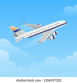 Flying airplane illustration Vector