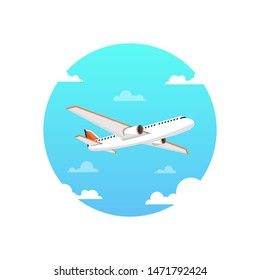Flying airplane. International transportation concept. Daytime sky and clouds on the background. Vector illustration.