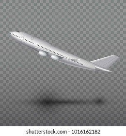 Flying airplane, jet aircraft, airliner. Side view of detailed realistic passenger air plane isolated on transparent background.