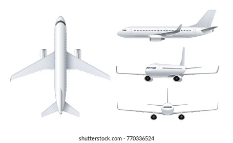 Flying airplane, jet aircraft, airliner. Top, front, side, 3d perspective view of detailed passenger air plane isolated on white background. Vector illustration