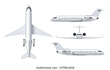 Flying airplane, regional jet aircraft, airliner. Top, front, side view of detailed passenger air plane isolated on white background. Vector illustration