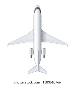 Flying airplane, regional jet aircraft, airliner. Top view of detailed passenger air plane isolated on white background. Vector illustration.