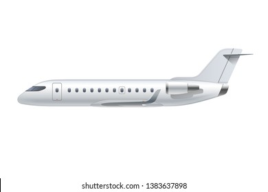 Flying airplane, regional jet aircraft, airliner. Side view of detailed passenger air plane isolated on white background. Vector illustration.