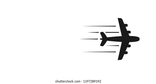 Flying airplane - stylized vector illustration. Black icon on white background. Isolated design element.