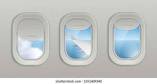 Flying airplane windows or portholes with open and closed shadows insight look at sky and wing 3d realistic vector illustration. Interior of an airplane with illuminators.