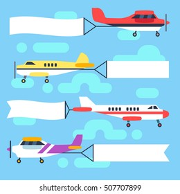 Flying airplanes and helicopters with blank banners and flags vector set. Banner for advertisement message, ribbon with colored plane in sky illustration