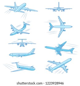 Flying airplanes, jet planes, airliners of different models, a detailed overview from different angles.