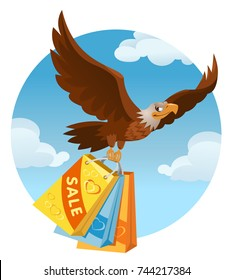 Flying American eagle carries the shopping bags from the sale. Cartoon styled vector illustration. Elements is grouped. No transparent objects.