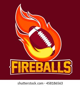 Flying american football ball with green fire flames on dark background. Design element. Vintage item. Modern professional logo for sport team