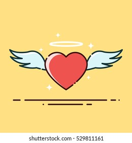 Flying Angel Heart with Wing Filled Outline