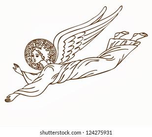 Flying angel - vector illustration