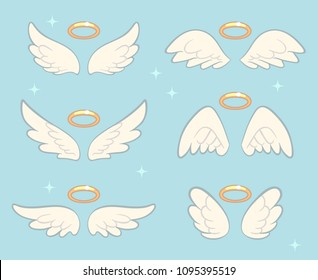 Flying angel wings with gold nimbus. Angelic wing cartoon vector set. Illustration of holy symbol collection