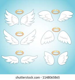 Flying angel wings with gold nimbus. Angelic wing cartoon vector set. Isolated Illustration of holy symbol collection
