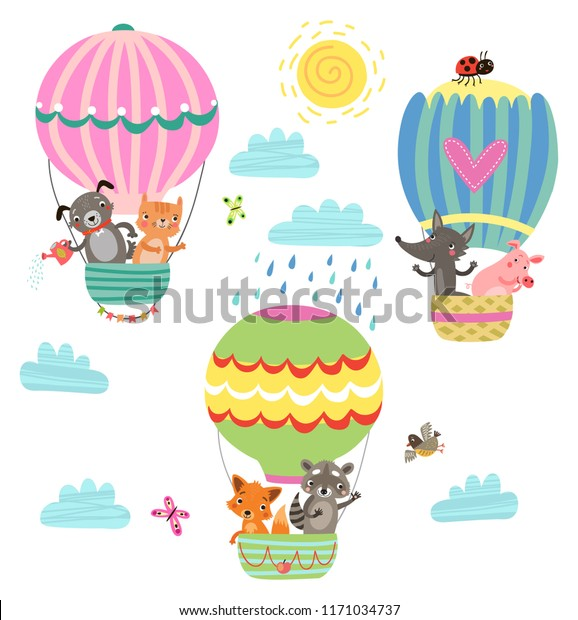 flying animals cute illustration