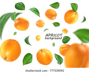 Flying apricot. Realistic 3D Vector apricots background.
