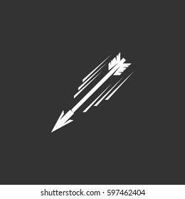 Flying arrow icon illustration isolated on black background. Flying arrow vector logo. Flat design style. Modern vector pictogram, sign, symbol for web graphics - stock vector