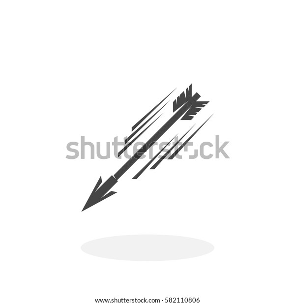 Flying arrow icon isolated on white background. Flying arrow vector logo. Flat design style. Modern vector pictogram for web graphics - stock vector