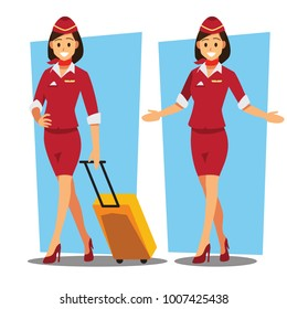 flying attendants  ,air hostess  , Vector illustration cartoon character