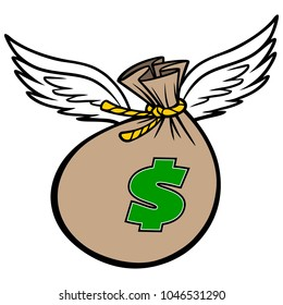 Flying Bag of Money - A vector cartoon illustration of a Flying Bag of Money concept.