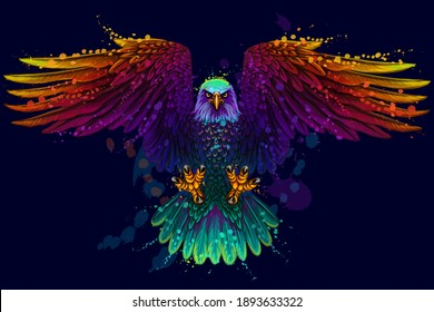 Flying bald eagle. Color, abstract, neon, art portrait of a soaring bald eagle on dark blue background in pop art style.  Digital vector graphics. Separate layers