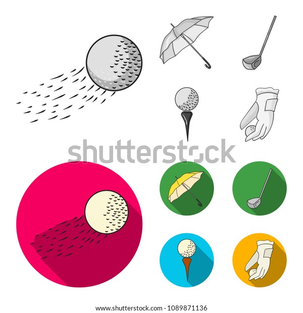 Flying Ball Yellow Umbrella Golf Club Stock Vector Royalty Free 1089871136