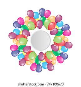 Flying balloons border with circle empty space for your text or design. Illustrated vector.