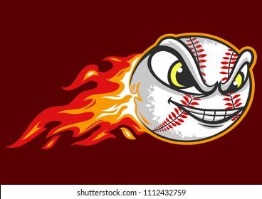 Flying Baseball Ball is on Fire
