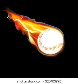Flying baseball on fire on black background, vector