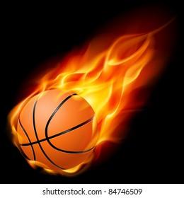 Flying basketball on fire. Illustration on black background