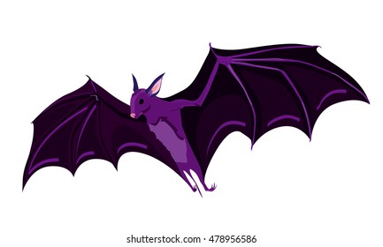Flying bat vector illustration isolated on white background for halloween holiday design.