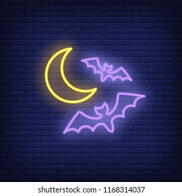 Flying bats neon sign. Luminous signboard with nocturnal animals. Night bright advertisement. Vector illustration in neon style for horror, Halloween, vampire