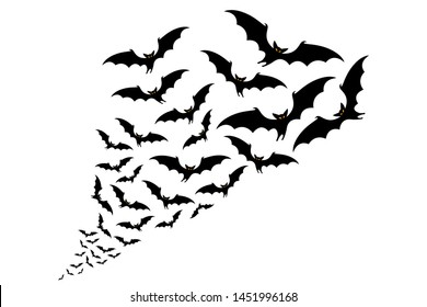 flying bats silhouettes. flock of bats - Halloween vector illustration