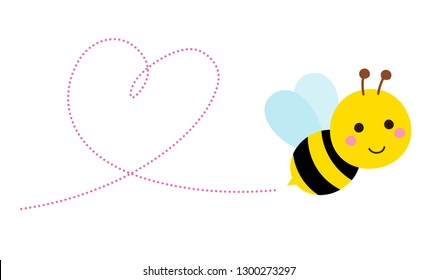 Flying bee and heart shape