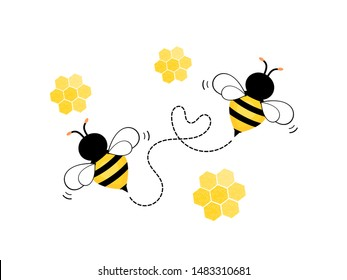 Flying Bee with honeycomb isolated on white background vector illustration. Cute cartoon character.