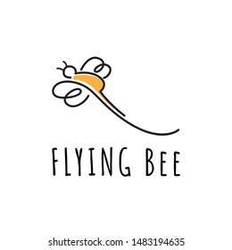 Flying Bee Wasp Unique Abstract Line Logo Template