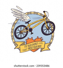 flying bicycle, cartoon doodle style vector illustration