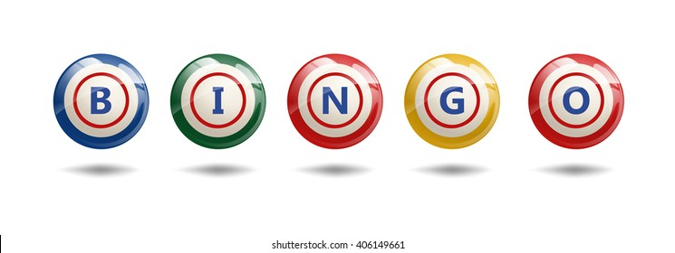 Flying Bingo Balls or Lottery Colorful Numbers. Bingo letters on bingo colorful balls. Vector Illustration isolated on white.