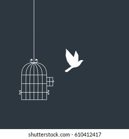 Flying bird and cage silhouettes. Freedom concept. Vector illustration in boho style for print and poster isolated on white background.